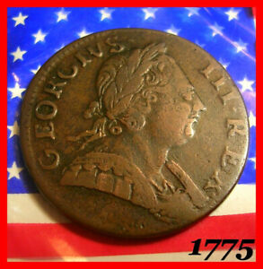 1775 KING GEORGE III HALF PENNY COLONIAL REVOLUTIONARY WAR ERA DAYS OF OLD COIN