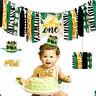 Jungle Animals Theme Banner Decor Crown Cake Party Decor for Baby 1st Birthday