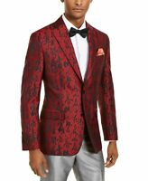 Tallia Mens Blazer Red Size 42 Twp-Button Slim Fit Abstract Print $350 #051
