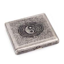 New Grey Tai Chi Design Brass Metal Cigarette Case Holds 20 cigarettes
