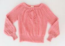 SLADE Vintage WOOL + MOHAIR blend Baby Pink Crochet Knit Sweater best fit 8 - 12