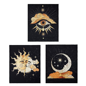 3PCS Tapestry Cotton Wall Hanging Printed Sun and Moon Bohemian Poster Home Deco