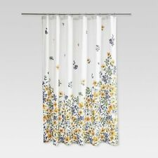 THRESHOLD Gold Medal Floral Yellow Blue Fabric Shower Curtain NEW FLOWERS