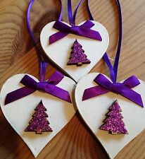 3 X Handmade Christmas Decorations Shabby Chic Wood Heart Tree Bows Purple