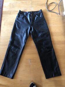 Lederhose, Bikerhose, Herren, Gr. 31 echtes Leder, schwarz
