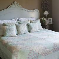 Clayre&Eef Tagesdecke Quilt Plaid Shabby Landhaus Vintage PATCHWORK 230x260