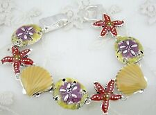 Shell Starfish Ocean Bracelet Silver Multi Color Magnetic Fashion Jewelry NEW