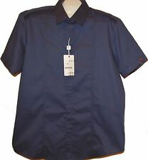 Mondo Navy Blue  Designs Cotton Fancywork Men Dress Shirt Size 3XL NEW
