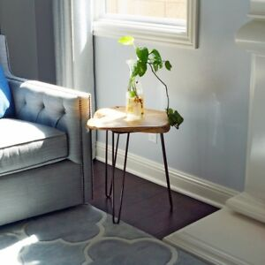 "Tall Cedar Table Wood Root Live 20"" Edge End Hairpin Leg Side Table WELLAND"