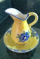 Vintage Ceramic Wash Basin & Jug Yellow With Blue Flowers Hand Painted