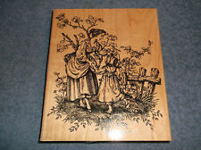 "2002 Stampin' Up Large 6"" X 5"" Wood Mounted Rubber Ink Stamp Woman & Girl Dancin"