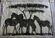 African Tanzanian Safari Zebra Oil Painting Umbrella Tree by Msumi