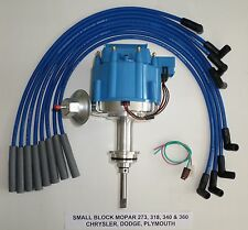 MOPAR SMALL BLOCK 64-89 273 318 340 360 HEI DISTRIBUTOR + BLUE Spark Plug Wires
