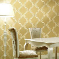 non-woven Wallpaper rolls gold Metallic floral white Damask Victorian Diamond 3D