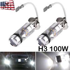 2x 6000k White LED H3 High Power 100W 2323 Car Fog Light Bulb DRL 1900LM
