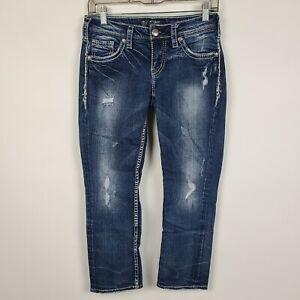 Silver Aiko Mid Rise Capri Distressed Womens Dark Wash Jeans Size 26