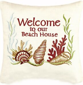 Welcome to Beach House 10 Inch Coastal Seashells Linen Embroidered Accent Pillow