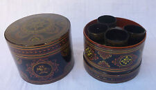 BIRMANIE boite bétel laquée birmane 1950 Maitre Nyo Burma burmese lacqueware box