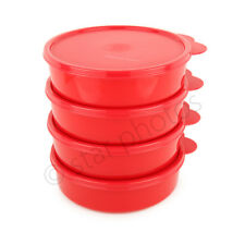 Tupperware Big Wonder Bowls 2-cup - Set of 4 in Red with Matching Seals - NEW!