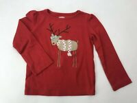 Gymboree Reindeer Long Sleeve Top Toddler Girls 3T Red Holiday Christmas