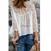 Women White Black Lace Crewneck Lace Shirt Tee Chiffon Blouse Top S/M/L/XL YA418