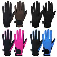 Equestrian Horse Riding Gloves LADIES Synthetic Leather Cotton Dublin Black