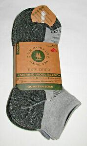 3 Pairs G.H. Bass Explorer Merino Wool Blend Gray Quarter Socks Mens Size 10-13