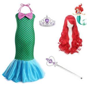Girls Little Mermaid Princess Ariel Fancy Dress Up Child Halloween Costume Wig
