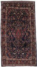 Thick Pile Vintage Navy Blue Floral 4X8 Nahavand Wool Oriental Area Rug Carpet