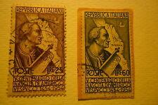 AMERIGO VESPUCCI 1954 REPUBBLICA ITALIANA SERIE COMPLETA 2 V 25 E 60 LIRE USATI