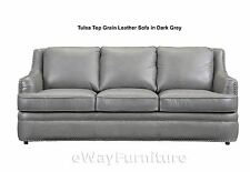 GREAT BUY! Tulsa Dark Grey Top Grain Leather Sofa Living Room Furniture Online