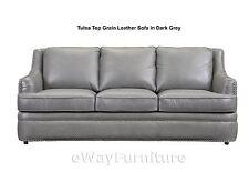 GREAT BUY! Tulsa Dark Grey Top Grain Leather Sofa Living Room Furniture Online