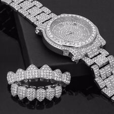 Mens CZ Fully Iced out Silver Plated Metal Silver Watch & Fully Cz Grillz