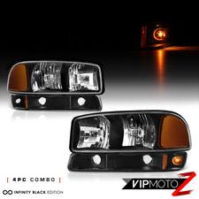 For 99-06 GMC Sierra 1500 2500 Yukon XL Black Headlight Bumper Lamp Replacement