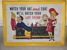 VTG Watch Your Hat and Coat Vintage Plastic Sign Bar Pub Home Wall Decor Retro