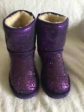 UGG AUSTRALIA Classic Short Sequins/Sparkles Sheepskin Purple Youth Size 4