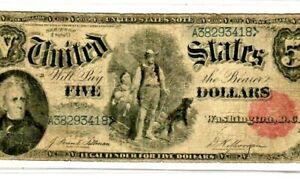 """$5 1880 (WOODCHOPPER) """"ANDREW JACKSON"""" (UNITED STATES NOTE) 1880 $5 NICE !! RARE"""