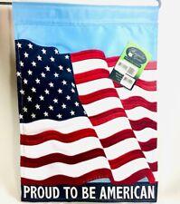 Magnolia Garden Flag Proud To Be American Double Applique Garden Flag