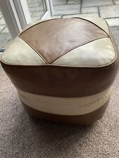 Vintage Retro Hanley Faux Leather Foot Stool / Pouffe 1960's on Casters, Brown