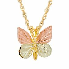 Black Hills Gold butterfly pendant womens ladies 12k BHG on 10k 18 inches