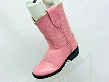 Old West Pink Leather Roper Cowboy Western Boots Toddler Size 5 Style 3119