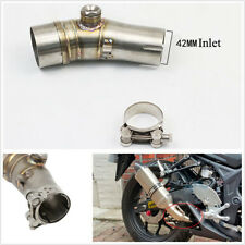 Silver Motorcycles Scooter Exhaust Pipe Muffler Front Link Middle Connect 155cm