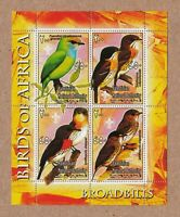 BROADBILL - Birds of Africa MNH VF Minisheets of 4 q50