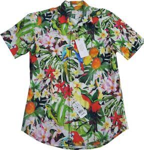 Q1 Desinger kurzarm Hemd Hawai Muster Papagei Gr. M <---ungetragen / NEU