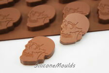 8 cell Large Skull Silicone Chocolate Candy Mould Mold Halloween Pagan Resin Wax