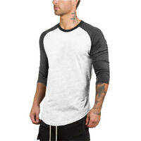 Men's Muscle Gym fit Three Quarter Sleeve T-shirt for Bodybuilding Wear Clothes