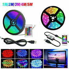 5V USB LED Strip 5050 RGB Light TV Backlight Color Wireless APP Remote Music US