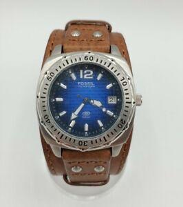 Fossil Blue Ladies AM-3783 Sunburst Blue Square Pattern Dial Wide Leather Strap