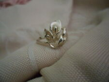 ANTIQUE VINTAGE ART DECO NOUVEAU FRENCH LILY STERLING SILVER RING SMALL SIZE 5