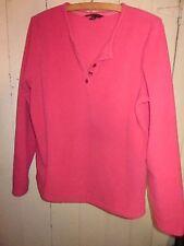 LANDS' END Pink 100% Polyester  Lightweight Fleece Pullover SZ M 10-12